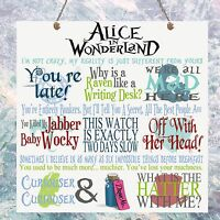 Alice in Wonderland Movie Quotes Birthday Gift Present Plaque Sign Wall House