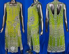 New listing Vintage Art Deco Chartreuse Silk Pearl Beaded T-Strap Back Tabard Flapper Dress