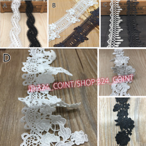 1YD,Lace Trims Ribbon Crocheted Wedding Applique Dress Sewing Decor Crafts 6L335