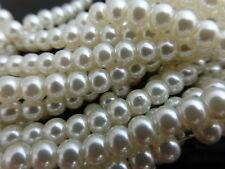 1 x Strand di 4mm color crema chiaro avorio perle di vetro (ca. 215 Perline), Imitazione