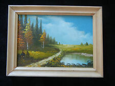 Cuadro al óleo con Marco de madera, pintado a mano, Paisaje (mi Artículo nº 17)