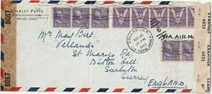 1943 USA oversize censored WWII coversent from Dallas TX to Surbiton Surrey UK