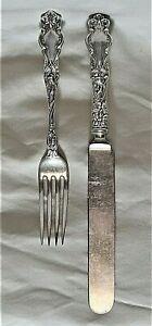 "R.WALLACE & SONS SET 1902 ETON PATTERN STERLING SILVER 7"" FORK & 9"" TABLE KNIFE"