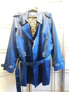 Joan Rivers  Double Breasted Trench Coat Animal Print Lining Navy Blue