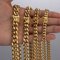 Mens Miami Cuban Link Chain Bracelet Solid 18k Gold Plated Stainless Steel