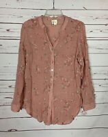 Fig & Flower Anthropologie Women's L Large Pink Floral Button Spring Top Blouse