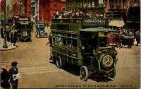 Vtg 1925 Double Deck Bus On Fifth Avenue Street Scene New York City NY Postcard