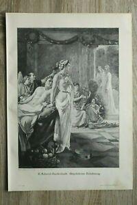 Kunst Holzschnitt 1900 F Schmid Breitenbach - Magdalenas Bekehrung nude 29x41cm