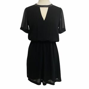 BCBGeneration Womens Faux Leather Collar Neck Sheer Back Dress Black Size Small