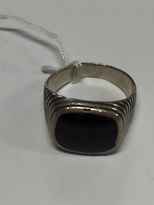 925 Sterling Silver Onyx Stone Ring 6.5 Grams Size 9 (GS)