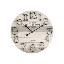 Mobili Rebecca® Orologio da Muro Grigio Stile Moderno Metallo Legno London