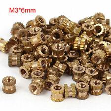 M3x6mm Threaded Round Metal Knurl Thread Insert Nuts Brass Tone Nuts Hot 100Pcs