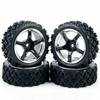 4Pcs Rubber Rally Tire Wheel 12mm Hex PP0104 For HSP RC 1/10 Off Road Racing Car