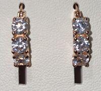 Sterling Silver 14K ROSE GOLD Plated Diamonique Huggie Hoop Earrings 2 PairsNEW