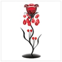 RED BOWL AND BRASS TULIP CANDLE STEM METAL GLASS LIVING ROOM