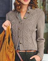 "Womans Military Style Aran Jacket 32"" - 45""  Knitting Pattern in Wool/Cotton DK"