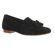 OFFICE Retro Suede Tassel Loafers Black UK 8 EU 41 Ln48 83
