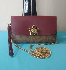 Coach F77686 IM/Khaki Wine Leather  Chain Crossbody  Signature Canvas Bag NWT