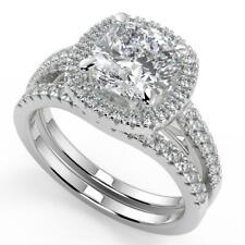 2.15 Ct Cushion Cut Pave Halo Diamond Engagement Ring Set SI2 H White Gold 14k