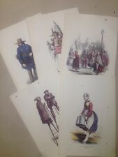 Collection 5 MENUS AIR FRANCE, gravures anciennes