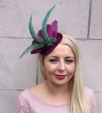 Aubergine Purple Green Peacock Feather Fascinator Races Hat Velvet Vintage 4080