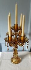 TALL 5 CANDLE, AMBER GLASS CANDELABRA WITH GLASS DROPLETS