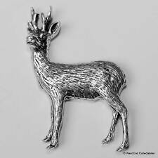 Roe Deer Pewter Pin Brooch -British Hand Crafted- Stag Buck Antler Hunting