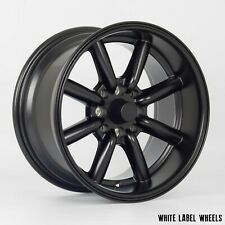 "4 x White Label Vintage matt black 15"" x 8"" 4x100 et0 alloys fit Mazda Mx5 Civic"