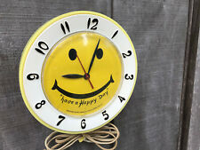 Vintage Have A Happy Day Smiley Face Electric Wall Clock Robert Shaw Tested