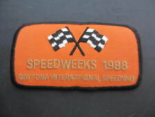 "SPEEDWEEKS 1988 DAYTONA SPEEDWAY EMBROIDERED PATCH RACING FLAG 4 1/2"" x 2 1/2"""