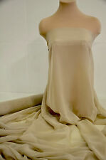 """CHIFFON SHEER FABRIC CASHMERE TAN   BRIDAL HOME DECOR PAGEANT 60"""" BY THE YARD"""