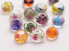 10pcs 12mm Faceted Glass Crystal Rose Flower Inside Lampwork Loose Beads Spacer