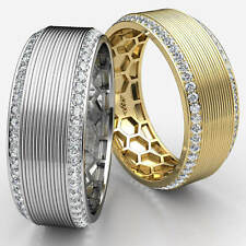 Band 14k White Gold 1.2 Ct Polished Grooved Round Diamond Eternity Men's Wedding
