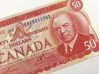 1975 Canada 50 Fifty Dollar Uncirculated EHF Prefix Lawson Bouey Banknote R187