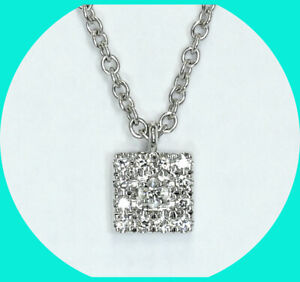 Bony Levy G VS diamond Pave Square pendant necklace 18K WG .06CT