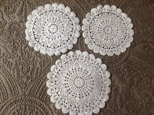 Vintage 3 Embroidery Crochet Lace Doily Antique Doilies Dressing Table Place Mat