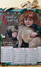 VINTAGE 1906 CHRISTMAS GREETING CARD CALENDAR VICTORIAN GIRLS AND DOGS  MUST SEE