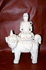 Antique Chinese Fine Blanc de Chine Pottery Quan-Yin Goddess of Mercy on Foo Dog