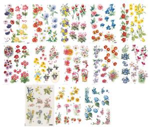 Craft UK Die Cut Decoupage Flowers - various,daffodil rose pansy tulip primrose