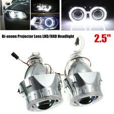 "2x2.5"" Universal BI-xenon Headlight Projectors Lens Shroud+Light Guide Angel Eye"