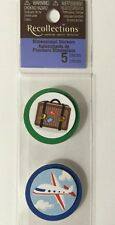 TRAVEL Round Stickers(5pc) Recollections•Suitcase•Airplane•Compass •Taxi•World••