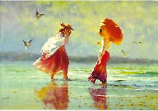 Girls on the beach sea seagull ' modern new unposted postcard by Robert Hagan