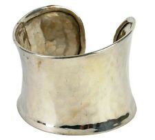 Silver-Coloured Brass Cuff Bracelet with Hammered Effect Fair Trade Jewellery