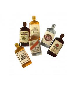 Dolls House Vintage Whiskey Bottles Set of 6 Miniature Pub Bar Accessories 1:12