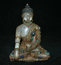 "9.6"" Old Tibet Crystal filigree Gilt Turquoise Shakyamuni Amitabha Buddha Statue"