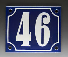 ALTE EMAIL EMAILLE HAUSNUMMER 46 in BLAU/WEISS um 1950