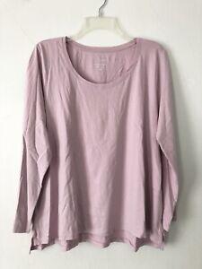 NEW J. JILL Sleep L Petite Ultrasoft Scoop neck Tee L/S Cotton/Modal Lavender