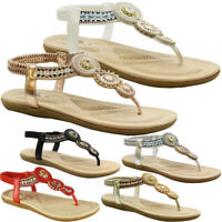 Ladies Summer Sandals Womens Sliders Diamante Flats Beach Flip Flop Shoes Size