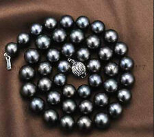AAA Genuine Natural 10-11mm tahitian black Pearl necklace 18inch
