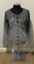 Apostrophe Gray And Black Leopard Button Down Cardigan Size M
